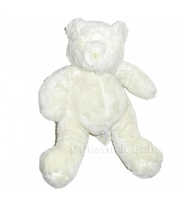 Peluche doudou musical OURS blanc Basile et Lola Moulin Roty 24cm
