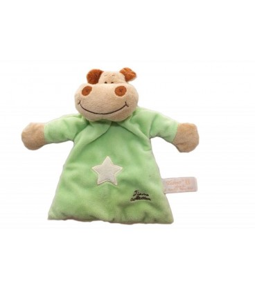 Doudou plat HIPPOPOTaME vert TIaMO Collection - Grelot