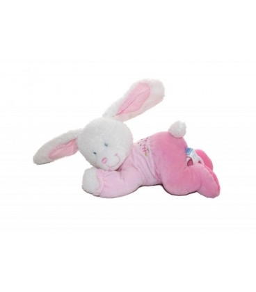 Doudou peluche Lapin rose blanc TEX Baby Musical Oiseau