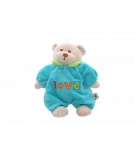 Doudou hochet OURS bleu Turquoise CP INTERNaTIONaL - Love - Grelot - 20 cm