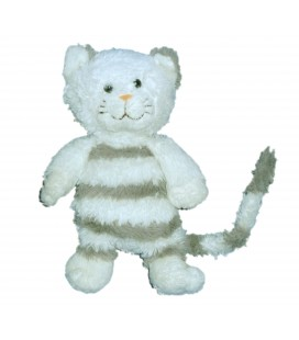 Doudou peluche CHAT blanc Rayures GIPSY - Cat plush Withe grey H 25 cm