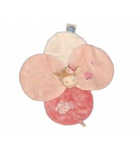 Doudou plat ronds vache petales rose blanc Lola Noukies