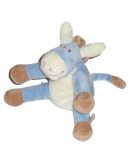 Doudou Ane Paco bleu blanc beige NOUKIES 16 cm