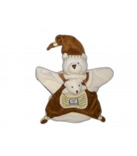 DOUDOU ET COMPAGNIE - Marionnette OURS blanc marron avec son cloche - Poche devant