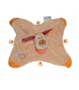 Doudou plat CHIEN Bo Beige orange Coeur NATTOU Jollymex Aubert