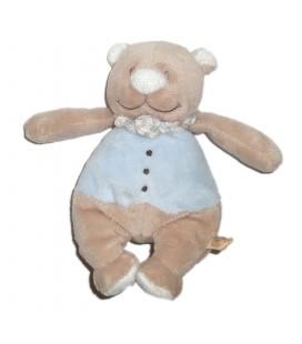 Doudou peluche OURS bleu beige NOUKIES Noukie's - H 18 cm