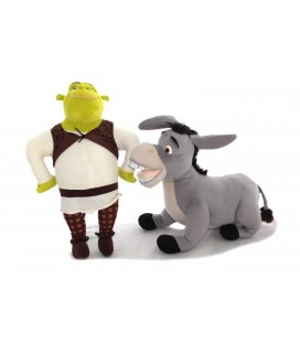Lot de 2 grandes peluches L'ANE SHREK 3 The Third Dreamworks 48-35 cm