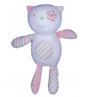 Doudou CHAT rose SUCRE D'ORGE - H 28 cm - Rayures