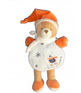 DOUDOU ET COMPAGNIE - OURS Cape Bleu orange Neige Flocons H 22 cm + bonnet