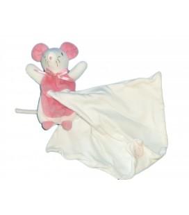Doudou souris rose mouchoir blanc Sucre d Orge