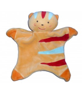 Doudou plat CHAT Lion orange rayures bleues rouges - SUCRE D'ORGE