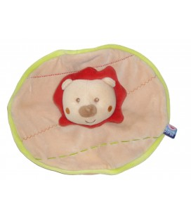 Doudou plat rond Lion beige orange rouge SUCRE D ORGE