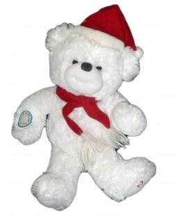 Doudou peluche OURS blanc Bonnet Echarpe rouge LUMICALIN - H 38 cm