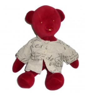 Doudou peluche OURS rouge CATIMINI - H 26 cm assis / 38 cm debout