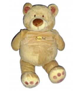 Grand doudou peluche OURS beige Pull rose - BABY NAT' Babynat H 50 cm