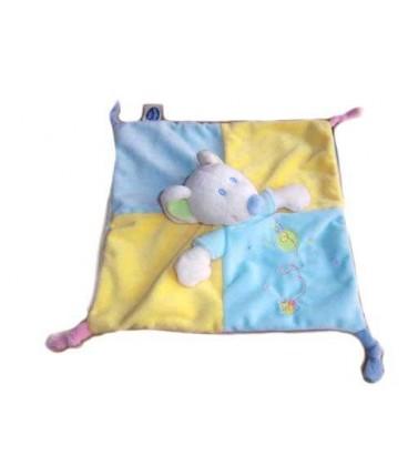 Doudou pLat Souris bleu jaune Maison oiseau Mots d Enfants 4 noeuds