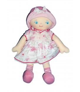 Doudou poupée Tissu Chiffon COROLLE 2007 - Chapeau velours - Robe rose blanche -H 38 cm 2007