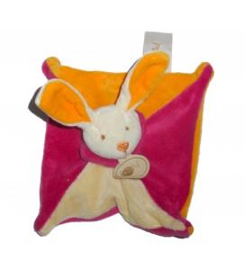 Petit doudou LAPIN plat orange fushia beige - BABY NAT' Babynat - Carré 15 x 15 cm