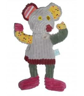Doudou Marionnette SOURIS grise Patchwork - BABY NAT' Babynat - H 36 cm