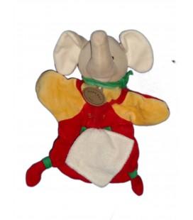 Doudou Marionnette ELEPHANT rouge jaune Mouchoir Blanc - BABY NAT' Babynat