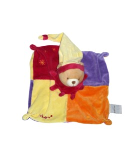Doudou plat OURS carré rouge jaune Bordeaux orange bonnet - BABY NAT' Babynat - 25 x 25 cm