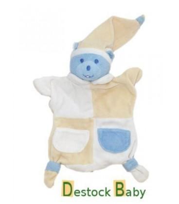 Doudou OURS Marionnette - Bleu jaune - Musti MUSTELA