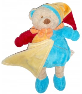 Doudou OURS bleu orange Mouchoir Bonnet BABY NAT' 25 cm