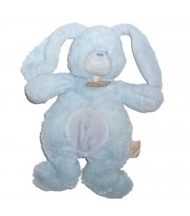 Doudou LAPIN bleu Croix Nombril Longs poils fourrure - BABY NAT' Babynat - H 25 cm