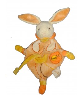 Doudou LAPIN orange Losange - BABY NAT' Babynat - H 30 cm - Attache tétine