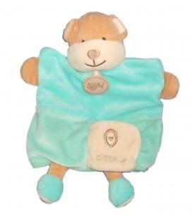 Doudou Marionnette CHIEN bleu turquoise - BABY NAT' Babynat - O comme Ours
