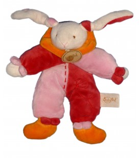 Doudou LAPIN rose orange - BABY NAT Babynat - H 22 cm
