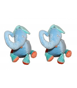 LOT DE 2 -- Peluche ELEPHANT bleu orange - IKEA