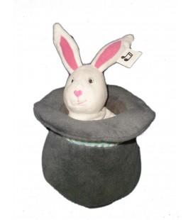 Peluche doudou musical lapin blanc Chapeau Gris IKEA 18 cm