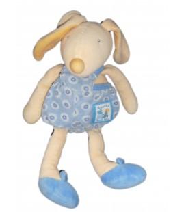Doudou LAPIN bleu jaune - MOULIN ROTY - Lise et Lulu - H 26 cm