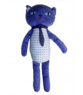 Doudou Chat bleu Bout Chou Monoprix - H 28 cm