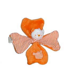 Doudou OURS blanc orange Rayures Trefle - FILOUDOU - CMP Paris