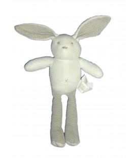 Doudou LAPIN blanc Rayures - SERGENT MAJOR - H 24 cm