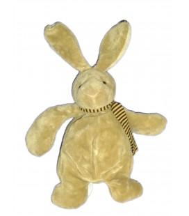 Doudou peluche LAPIN beige marron Clair - TOUT COMPTE FAIT - Echarpe rayée - H 26/34 cm