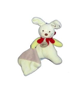 Doudou LAPIN Blanc Mouchoir Colerette rouge - BABY NAT' - Babynat - H 18 cm BN295