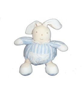 Doudou LAPIN bleu blanc Rayures - TARTINE ET CHOCOLAT - H 22 cm