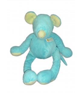 Doudou Peluche SOURIS bleue vert turquoise - TARTINE ET CHOCOLAT - H 38 cm