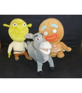 Lot de 3 peluches SHREK - L'ANE - TI BISCUIT Dreamworks Big Headz 24 cm