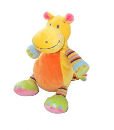 Doudou peluche Hippopotame orange jaune NICOTOY 28 cm