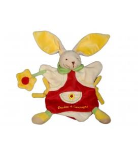 DOUDOU ET COMPAGNIE Marionnette LAPIN Fleur jaune rouge