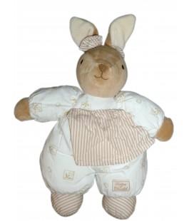 Doudou peluche LAPIN blanc beige tissu imprimé - TARTINE ET CHOCOLAT - H 36 cm