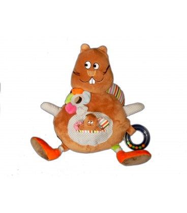 Peluche doudou d'activité - Lapin Castor Monoprix - H 30 cm