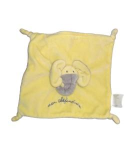 Doudou plat Elephant jaune Mon Elefantdoux - TCF - TOUT COMPTE FAIT - 4 noeuds