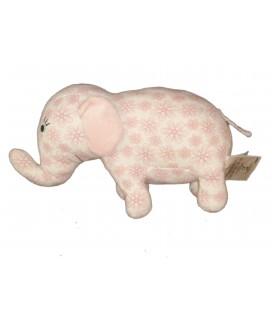 Doudou tissu Elephant rose blanc - H M h ET m - L 25 x H 16 cm