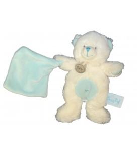 Doudou OURS blanc bleu Mouchoir - BABY NAT Babynat - H 20 cm