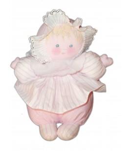 Doudou Poupée tissu COROLLE - Rose blanc rayures - H 27 cm